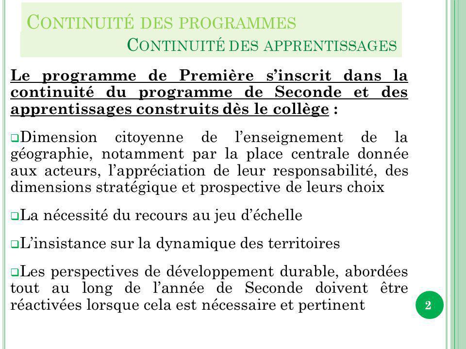 C ONTINUITÉ DES PROGRAMMES Le programme de Première sinscrit dans la continuité du programme de Seconde et des apprentissages construits dès le collèg