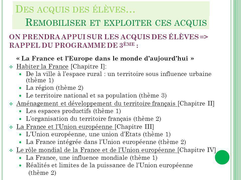 D ES ACQUIS DES ÉLÈVES … ON PRENDRA APPUI SUR LES ACQUIS DES ÉLÈVES => RAPPEL DU PROGRAMME DE 3 ÈME : « La France et lEurope dans le monde daujourdhui