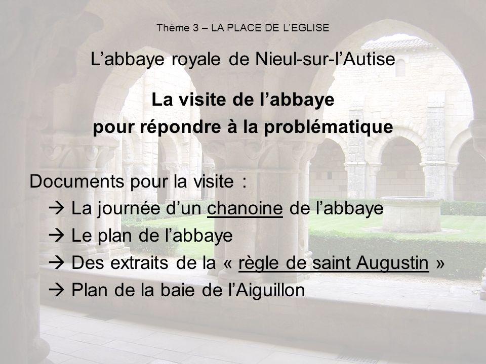 La visite de labbaye pour répondre à la problématique Documents pour la visite : La journée dun chanoine de labbaye Le plan de labbaye Des extraits de