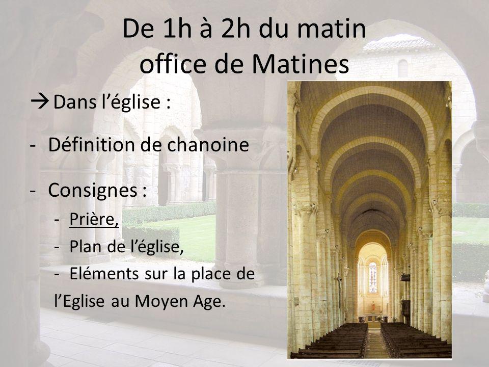 De 1h à 2h du matin office de Matines Dans léglise : -Définition de chanoine -Consignes : -Prière, -Plan de léglise, -Eléments sur la place de lEglise