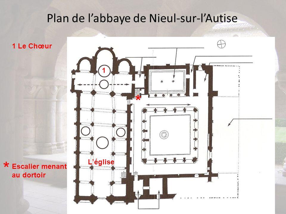 Plan de labbaye de Nieul-sur-lAutise 1 1 Le Chœur Léglise * Escalier menant au dortoir *