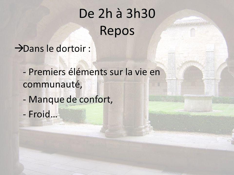 De 2h à 3h30 Repos Dans le dortoir : - Premiers éléments sur la vie en communauté, - Manque de confort, - Froid…