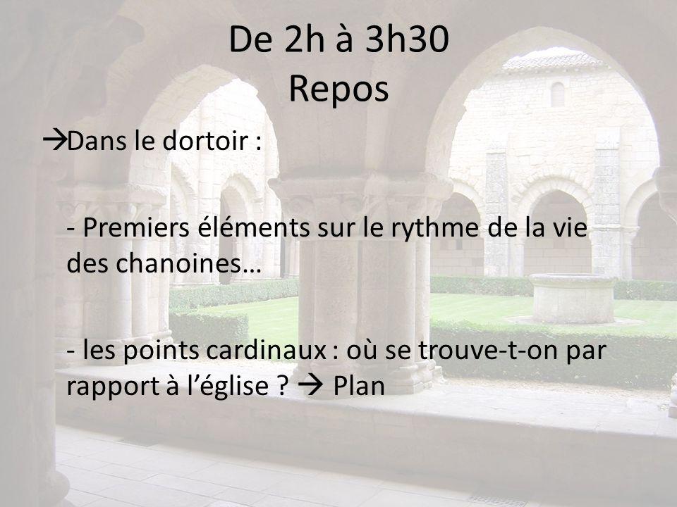 De 2h à 3h30 Repos Dans le dortoir : - Premiers éléments sur le rythme de la vie des chanoines… - les points cardinaux : où se trouve-t-on par rapport