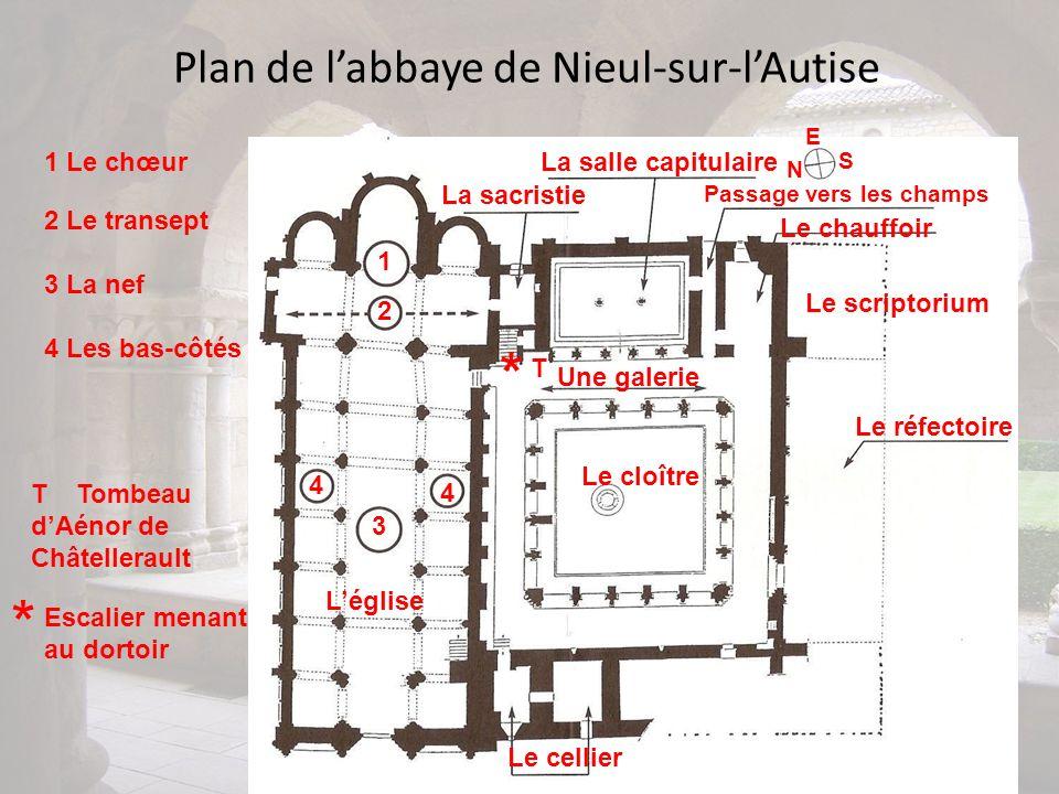 Plan de labbaye de Nieul-sur-lAutise 1 1 Le chœur Léglise * Escalier menant au dortoir * 2 3 4 4 2 Le transept 3 La nef 4 Les bas-côtés La sacristie E