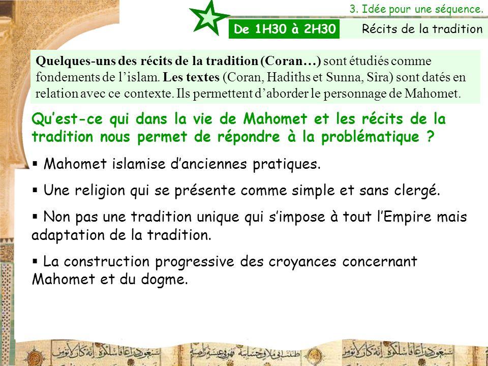 3. Idée pour une séquence. Quelques-uns des récits de la tradition (Coran…) sont étudiés comme fondements de lislam. Les textes (Coran, Hadiths et Sun