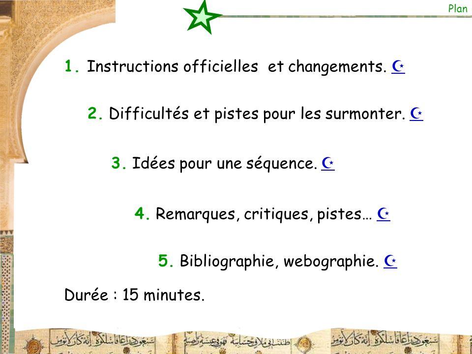 1. Instructions officielles et changements. 2. Difficultés et pistes pour les surmonter. 3. Idées pour une séquence. 4. Remarques, critiques, pistes…