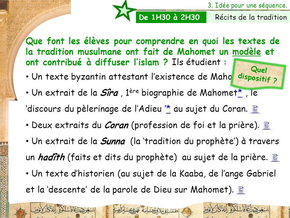 3. Idée pour une séquence. Que font les élèves pour comprendre en quoi les textes de la tradition musulmane ont fait de Mahomet un modèle et ont contr