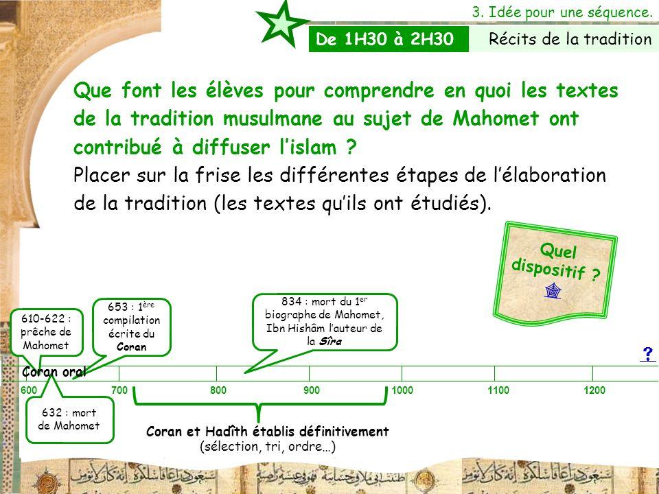 3. Idée pour une séquence. Que font les élèves pour comprendre en quoi les textes de la tradition musulmane au sujet de Mahomet ont contribué à diffus