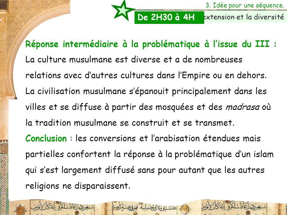 Réponse intermédiaire à la problématique à lissue du III : La culture musulmane est diverse et a de nombreuses relations avec dautres cultures dans lE