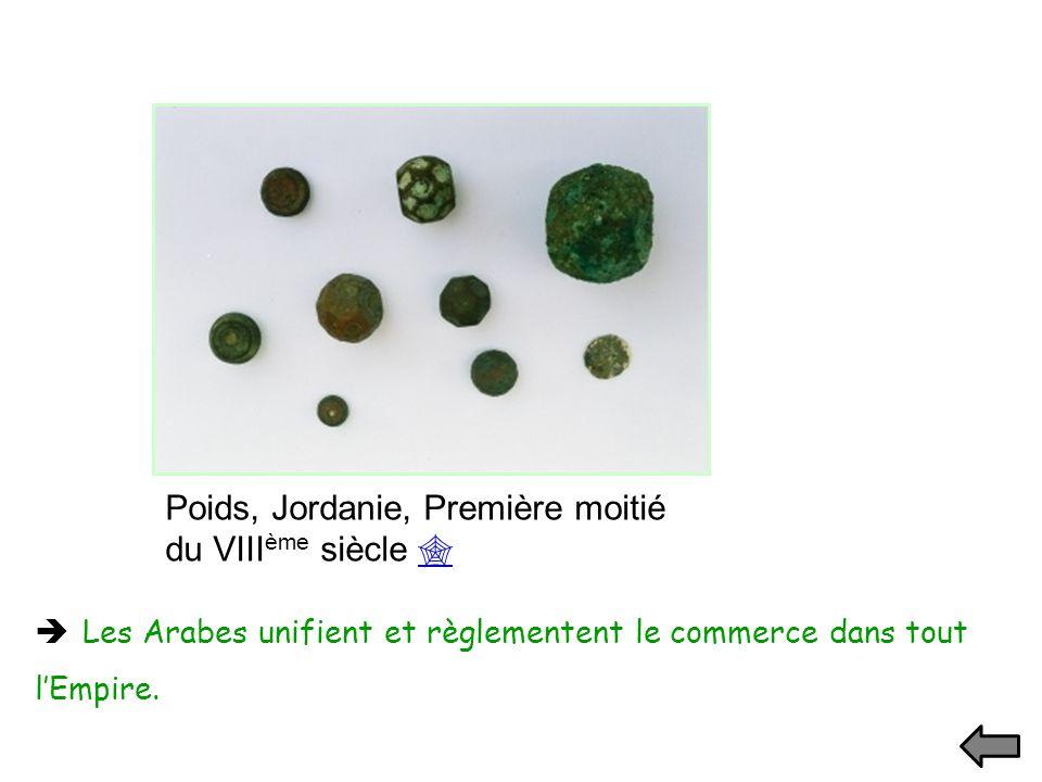 Poids, Jordanie, Première moitié du VIII ème siècle Les Arabes unifient et règlementent le commerce dans tout lEmpire.