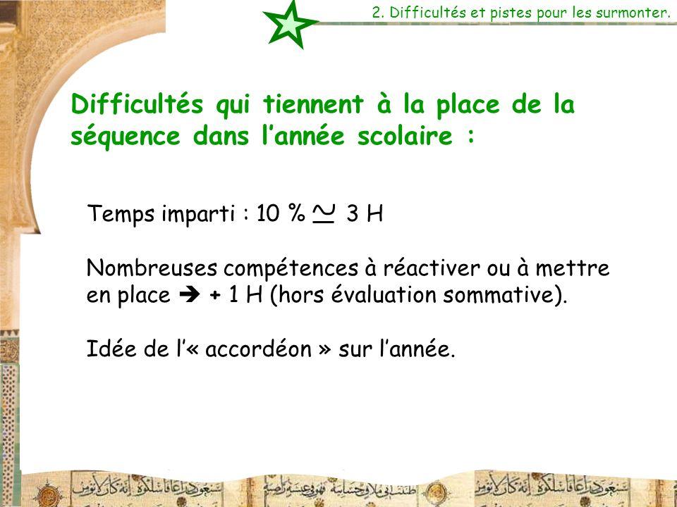 Temps imparti : 10 % 3 H Nombreuses compétences à réactiver ou à mettre en place + 1 H (hors évaluation sommative). Idée de l« accordéon » sur lannée.