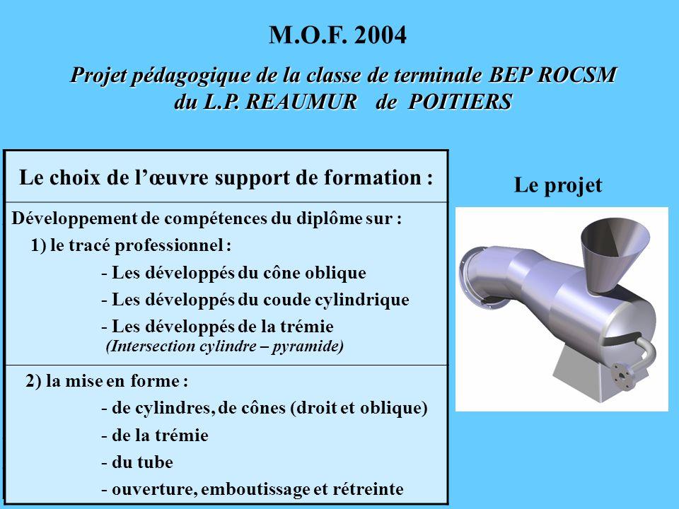Projet pédagogique de la classe de terminale BEP ROCSM du L.P. REAUMUR de POITIERS M.O.F. 2004 Les exigences du concours Une œuvre inscriptible dans u