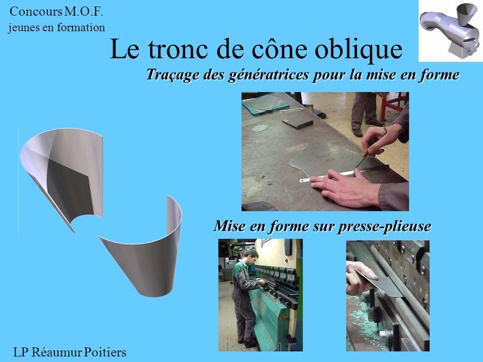 Traçage des génératrices pour la mise en forme Le tronc de cône oblique Mise en forme sur presse-plieuse Concours M.O.F. jeunes en formation LP Réaumu