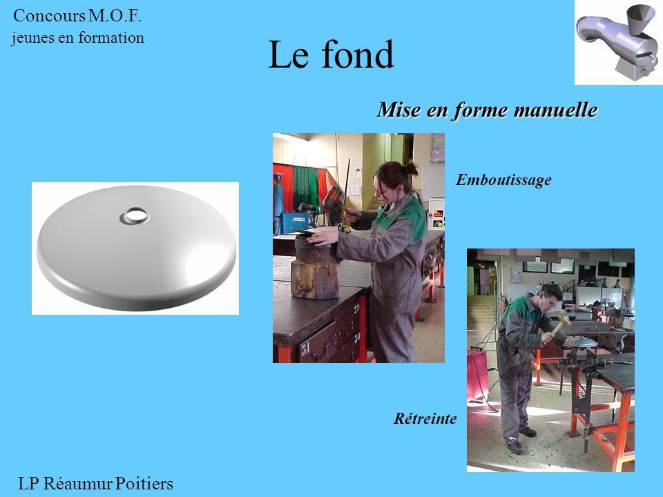 Mise en forme manuelle Le fond Emboutissage Rétreinte Concours M.O.F. jeunes en formation LP Réaumur Poitiers