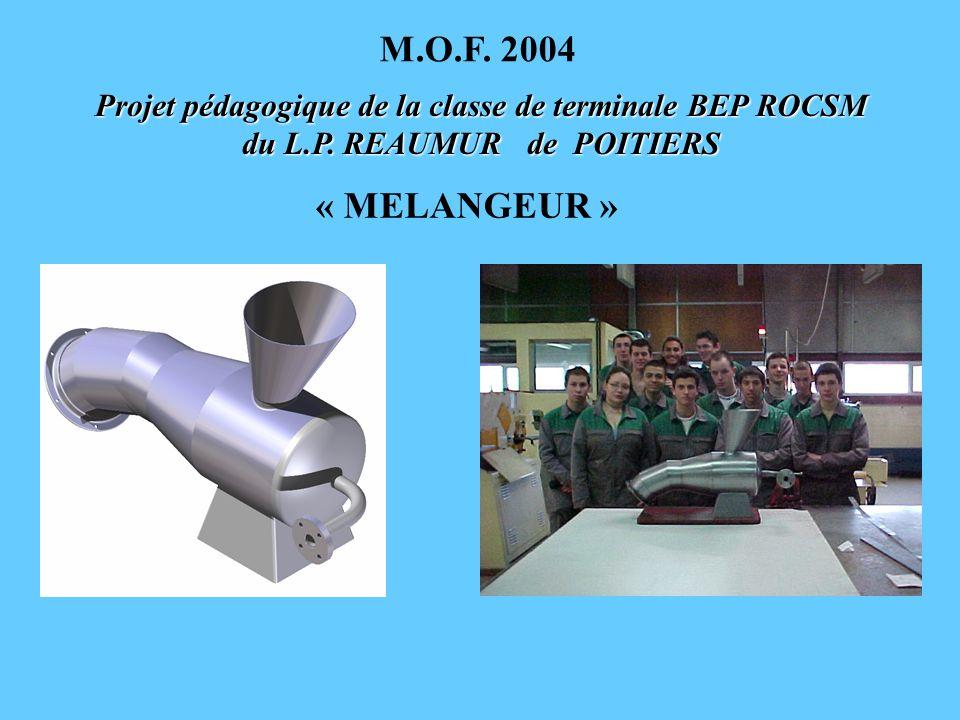 Projet pédagogique de la classe de terminale BEP ROCSM du L.P. REAUMUR de POITIERS « MELANGEUR » M.O.F. 2004