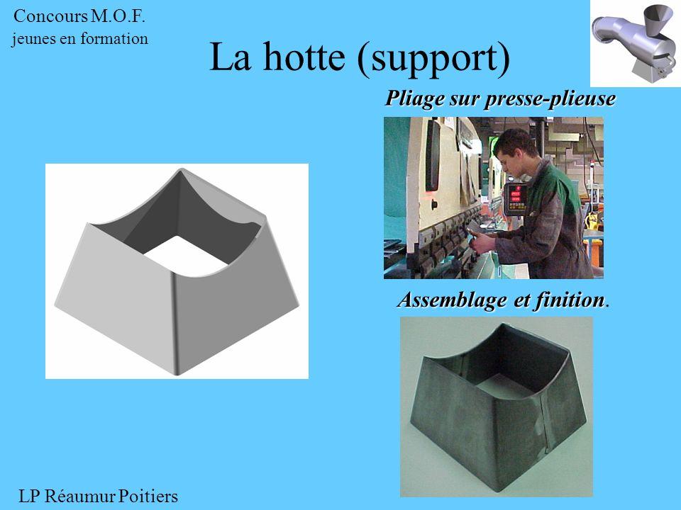 Pliage sur presse-plieuse Assemblage et finition Assemblage et finition. La hotte (support) Concours M.O.F. jeunes en formation LP Réaumur Poitiers