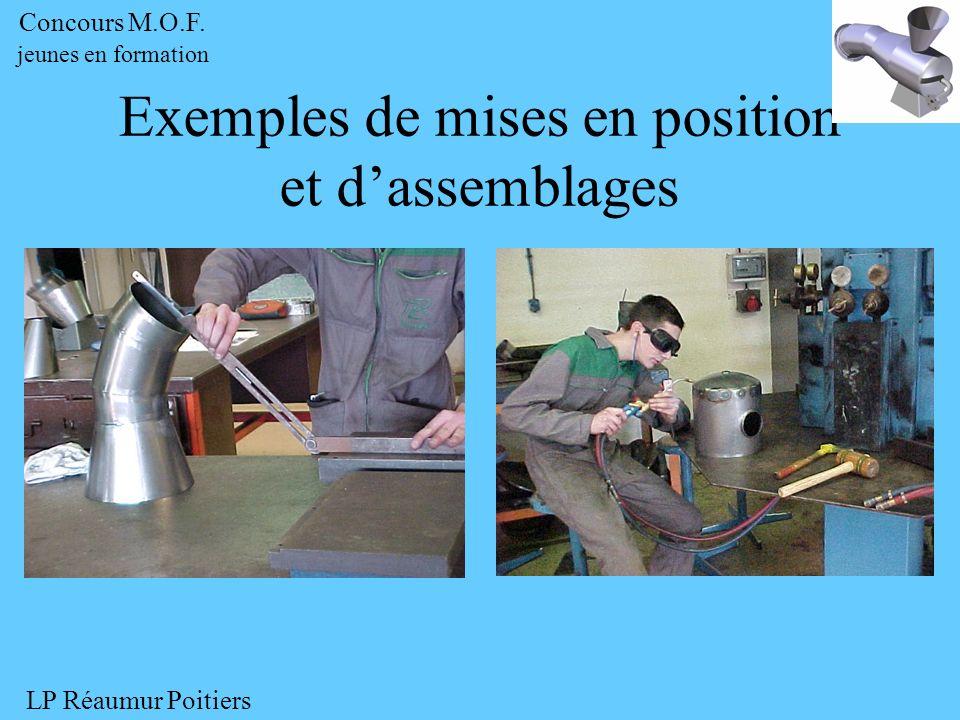 Exemples de mises en position et dassemblages Concours M.O.F. jeunes en formation LP Réaumur Poitiers