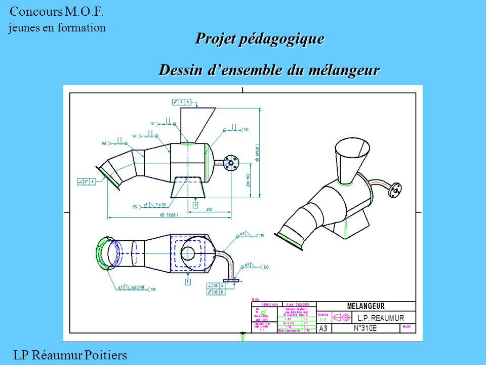 Dessin densemble du mélangeur Dessin densemble du mélangeur Projet pédagogique LP Réaumur Poitiers Concours M.O.F.