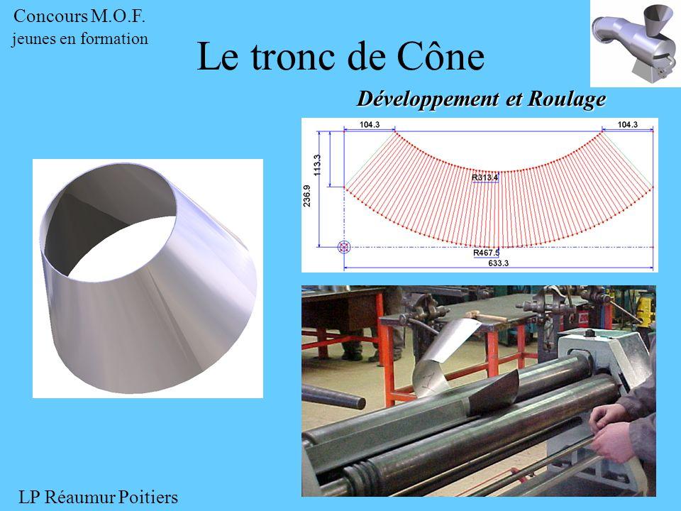Développement et Roulage Le tronc de Cône Concours M.O.F. jeunes en formation LP Réaumur Poitiers