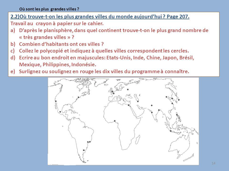 14 Où sont les plus grandes villes ? 2.2)Où trouve-t-on les plus grandes villes du monde aujourdhui ? Page 207. Travail au crayon à papier sur le cahi