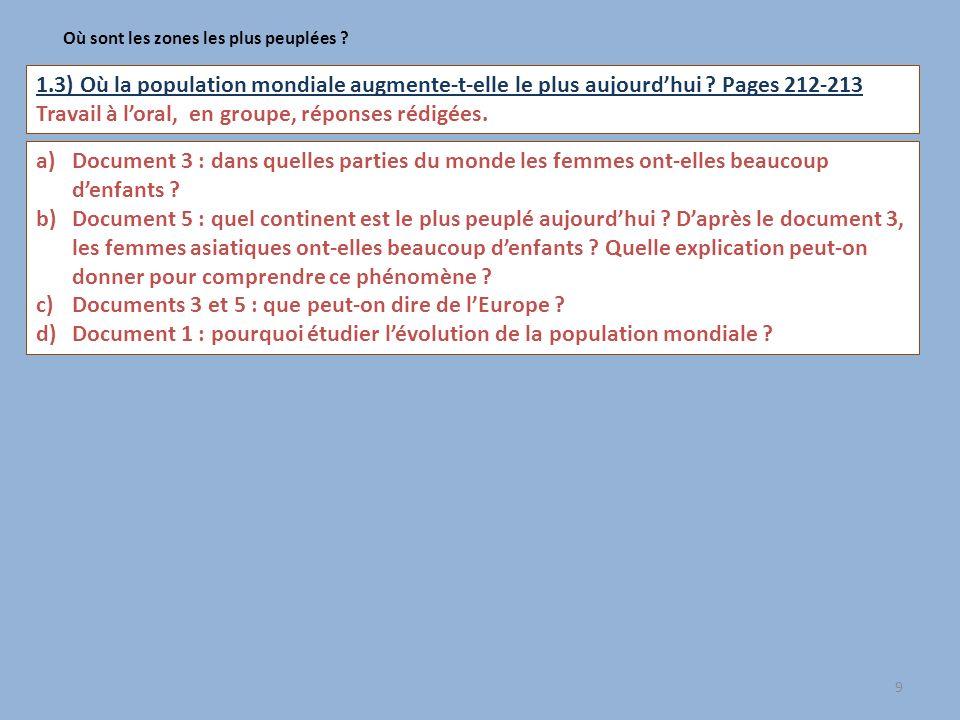 9 Où sont les zones les plus peuplées ? 1.3) Où la population mondiale augmente-t-elle le plus aujourdhui ? Pages 212-213 Travail à loral, en groupe,