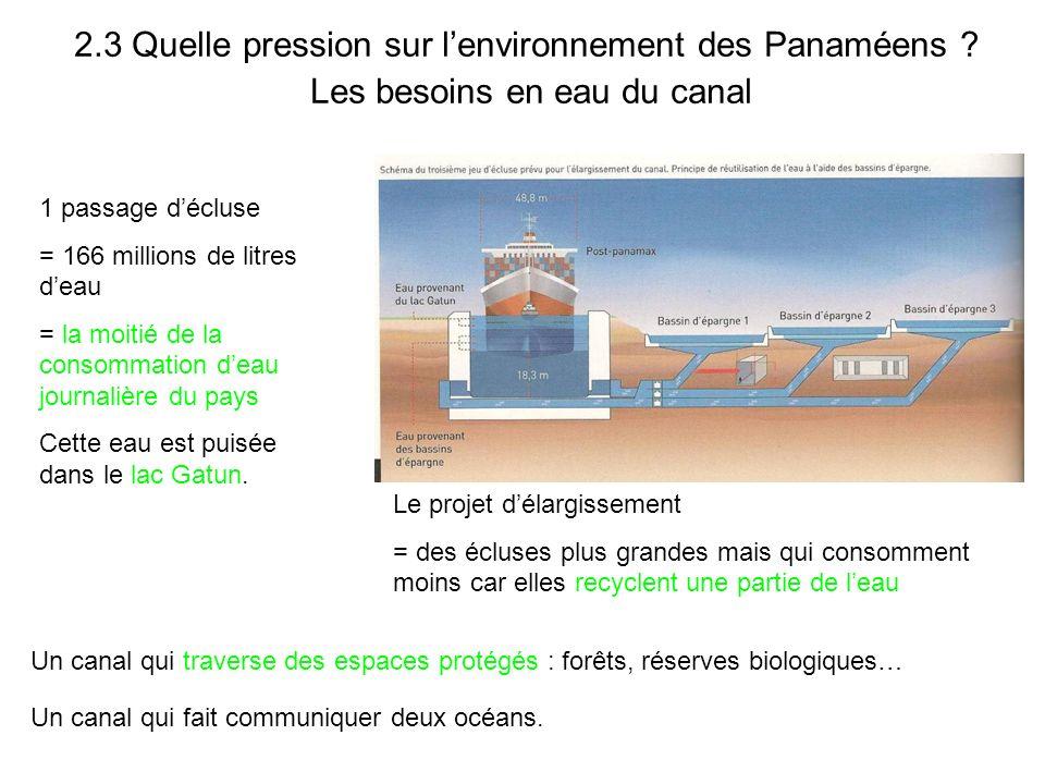 2.3 Quelle pression sur lenvironnement des Panaméens ? Les besoins en eau du canal 1 passage décluse = 166 millions de litres deau = la moitié de la c