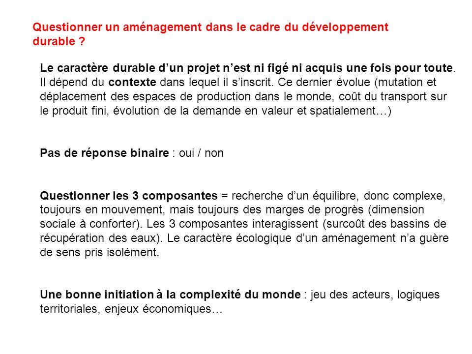 Questionner un aménagement dans le cadre du développement durable ? Le caractère durable dun projet nest ni figé ni acquis une fois pour toute. Il dép