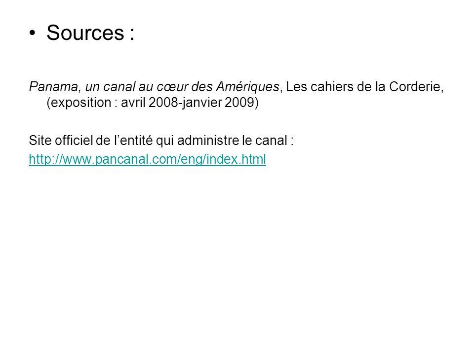 Sources : Panama, un canal au cœur des Amériques, Les cahiers de la Corderie, (exposition : avril 2008-janvier 2009) Site officiel de lentité qui admi
