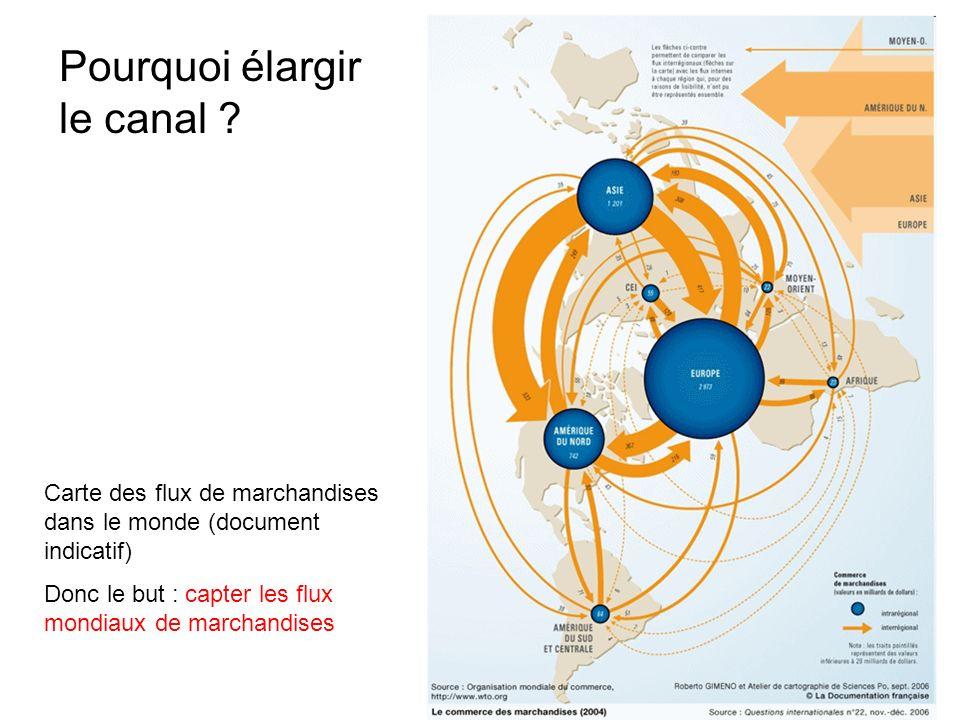 Pourquoi élargir le canal ? Carte des flux de marchandises dans le monde (document indicatif) Donc le but : capter les flux mondiaux de marchandises