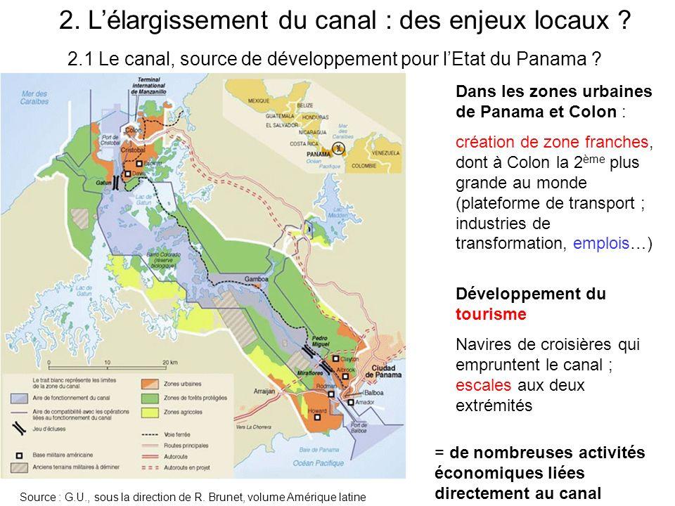 2.1 Le canal, source de développement pour lEtat du Panama ? Dans les zones urbaines de Panama et Colon : création de zone franches, dont à Colon la 2