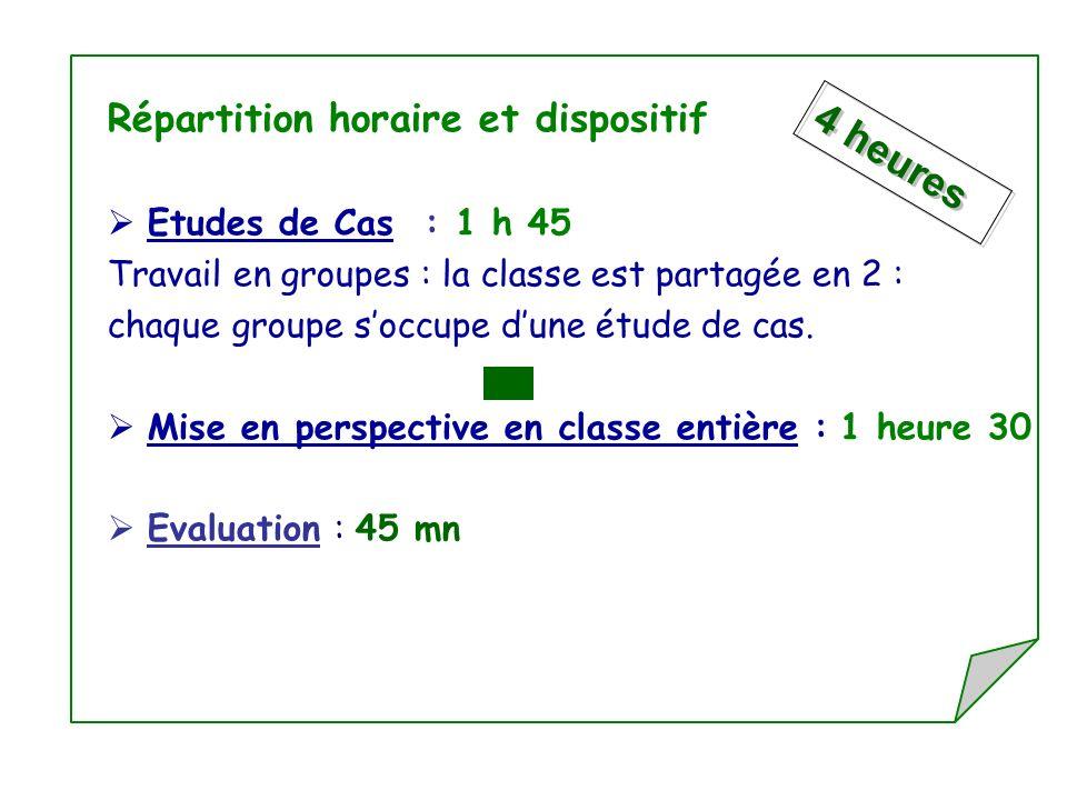 Répartition horaire et dispositif Etudes de Cas : 1 h 45 Travail en groupes : la classe est partagée en 2 : chaque groupe soccupe dune étude de cas. M