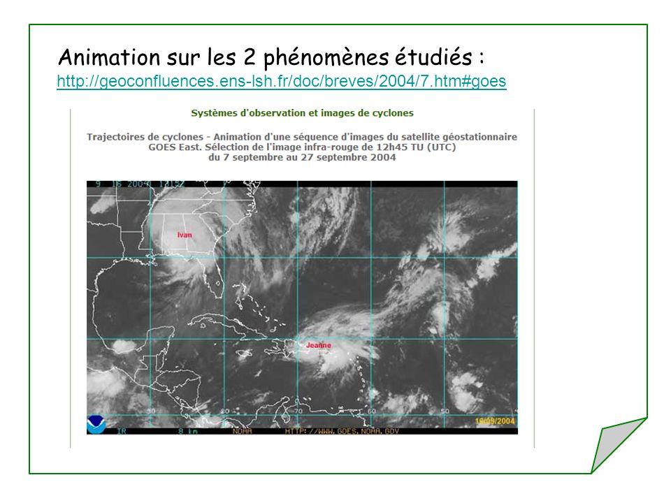Animation sur les 2 phénomènes étudiés : http://geoconfluences.ens-lsh.fr/doc/breves/2004/7.htm#goes http://geoconfluences.ens-lsh.fr/doc/breves/2004/