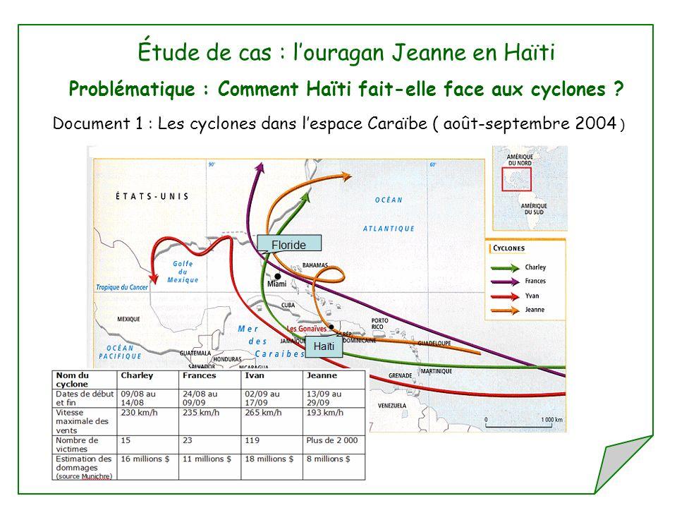 Étude de cas : louragan Jeanne en Haïti Problématique : Comment Haïti fait-elle face aux cyclones ? Document 1 : Les cyclones dans lespace Caraïbe ( a