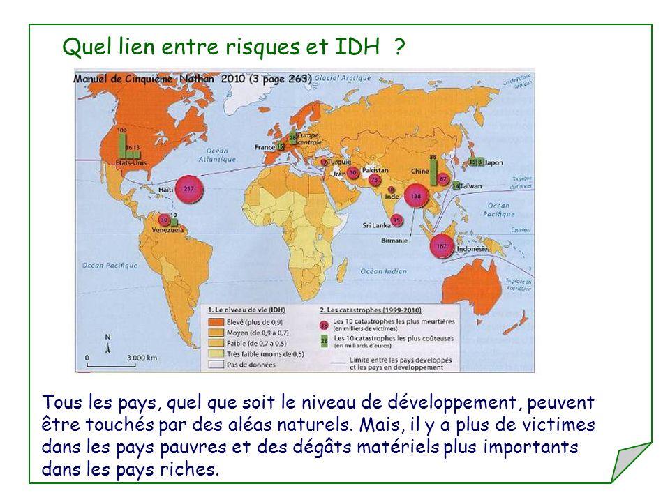 Quel lien entre risques et IDH ? Tous les pays, quel que soit le niveau de développement, peuvent être touchés par des aléas naturels. Mais, il y a pl