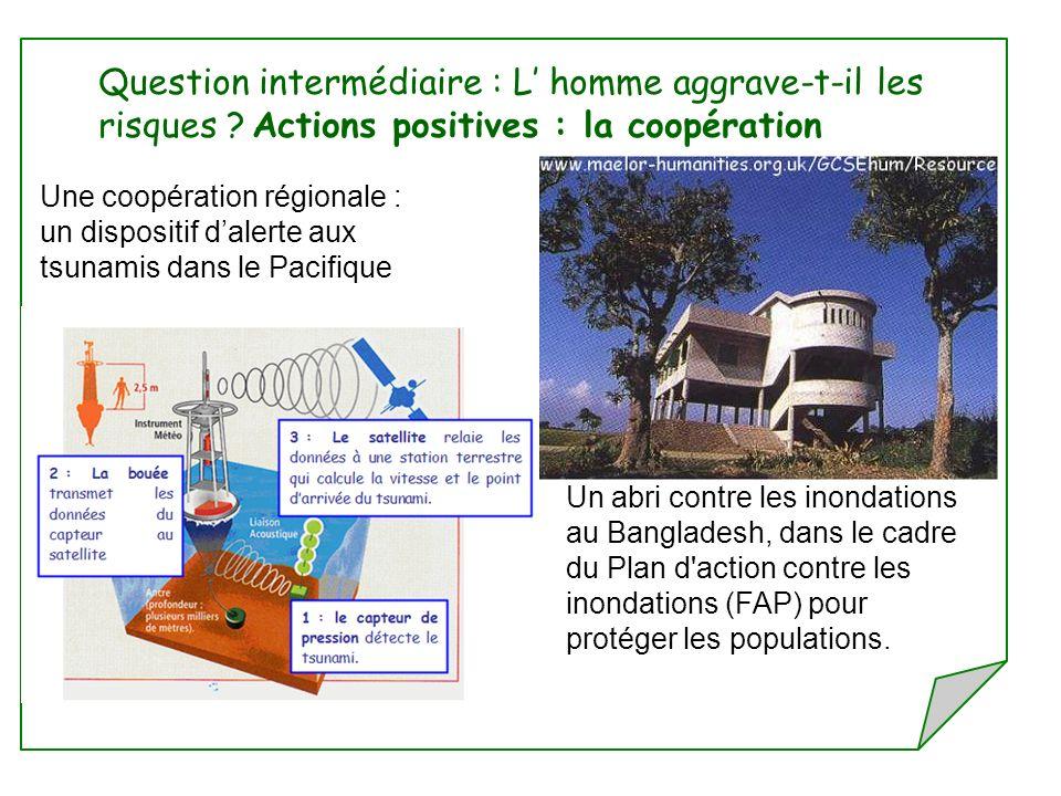 Une coopération régionale : un dispositif dalerte aux tsunamis dans le Pacifique Question intermédiaire : L homme aggrave-t-il les risques ? Actions p