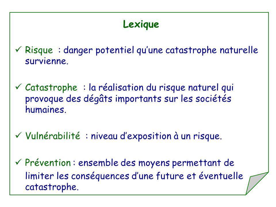 Lexique Risque : danger potentiel quune catastrophe naturelle survienne. Catastrophe : la réalisation du risque naturel qui provoque des dégâts import