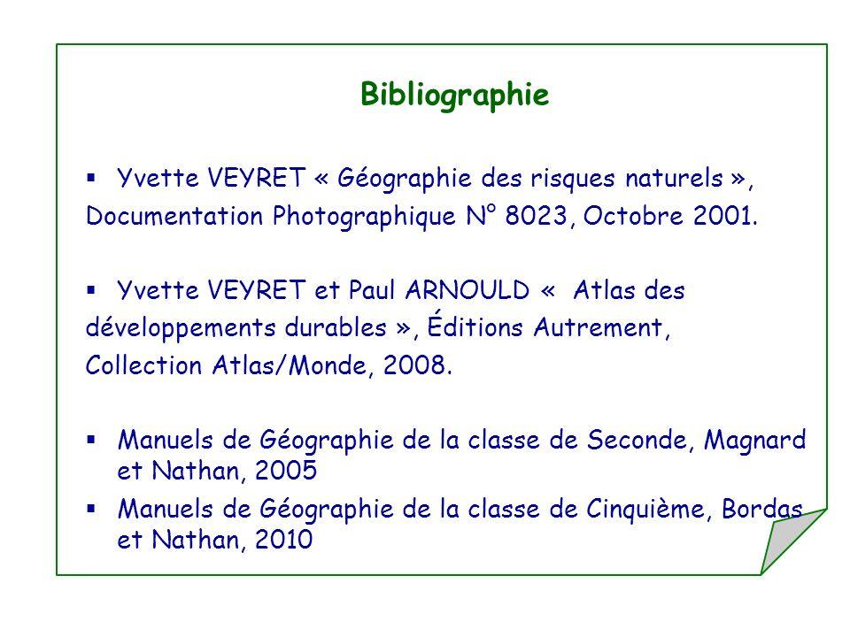Bibliographie Yvette VEYRET « Géographie des risques naturels », Documentation Photographique N° 8023, Octobre 2001. Yvette VEYRET et Paul ARNOULD « A