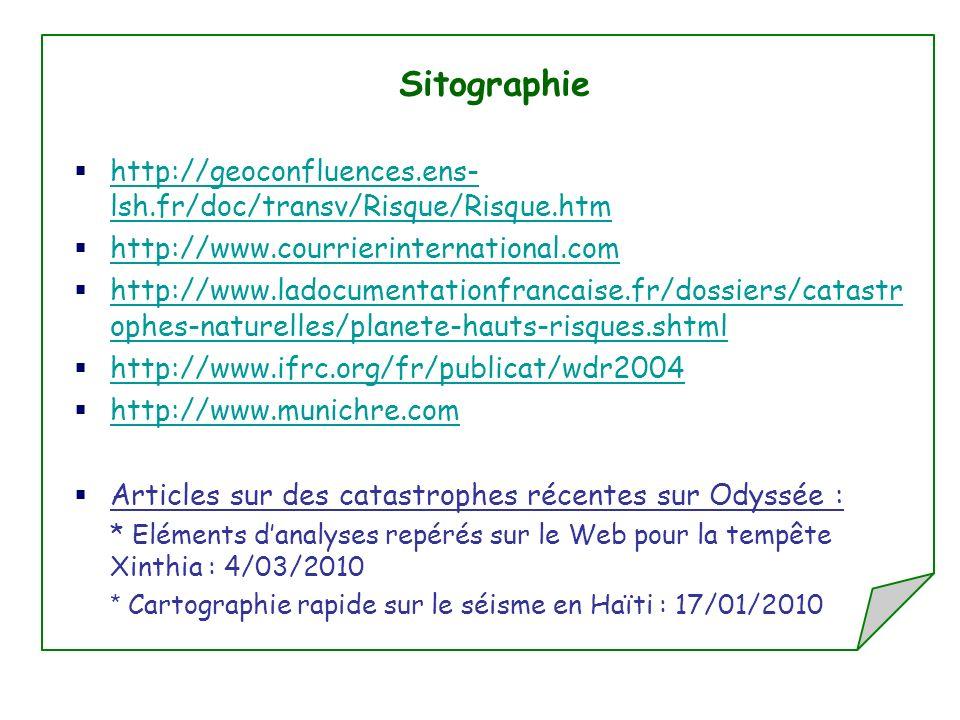 Sitographie http://geoconfluences.ens- lsh.fr/doc/transv/Risque/Risque.htm http://geoconfluences.ens- lsh.fr/doc/transv/Risque/Risque.htm http://www.courrierinternational.com http://www.ladocumentationfrancaise.fr/dossiers/catastr ophes-naturelles/planete-hauts-risques.shtml http://www.ladocumentationfrancaise.fr/dossiers/catastr ophes-naturelles/planete-hauts-risques.shtml http://www.ifrc.org/fr/publicat/wdr2004 http://www.munichre.com Articles sur des catastrophes récentes sur Odyssée : * Eléments danalyses repérés sur le Web pour la tempête Xinthia : 4/03/2010 * Cartographie rapide sur le séisme en Haïti : 17/01/2010