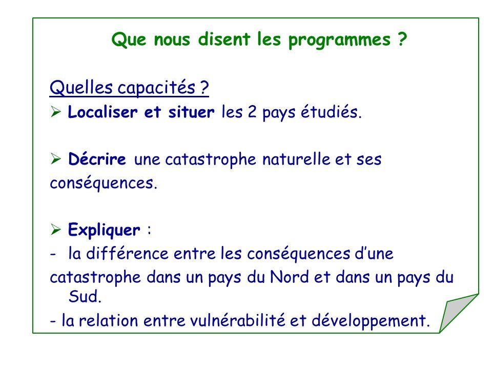 Que nous disent les programmes ? Quelles capacités ? Localiser et situer les 2 pays étudiés. Décrire une catastrophe naturelle et ses conséquences. Ex