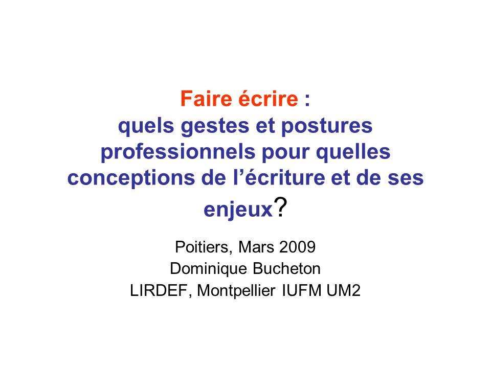 Faire écrire : quels gestes et postures professionnels pour quelles conceptions de lécriture et de ses enjeux ? Poitiers, Mars 2009 Dominique Bucheton