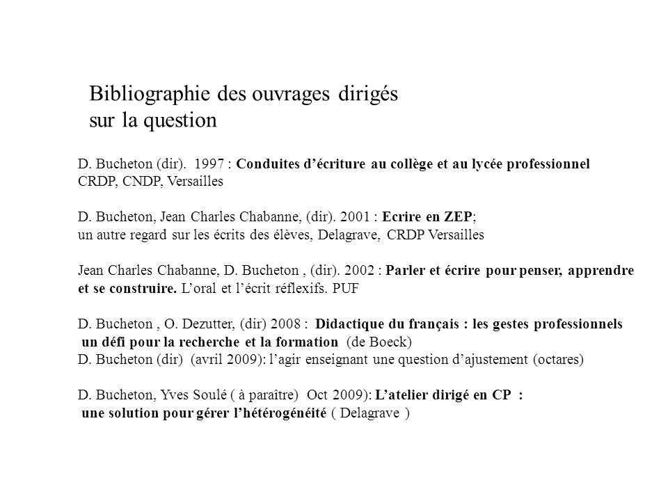 Bibliographie des ouvrages dirigés sur la question D. Bucheton (dir). 1997 : Conduites décriture au collège et au lycée professionnel CRDP, CNDP, Vers
