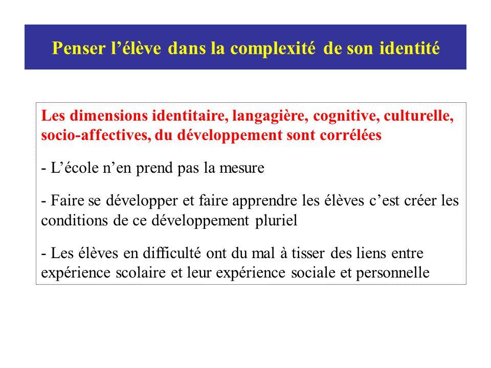 Les dimensions identitaire, langagière, cognitive, culturelle, socio-affectives, du développement sont corrélées - Lécole nen prend pas la mesure - Fa