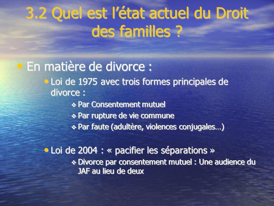 3.2 Quel est létat actuel du Droit des familles ? En matière de divorce : En matière de divorce : Loi de 1975 avec trois formes principales de divorce