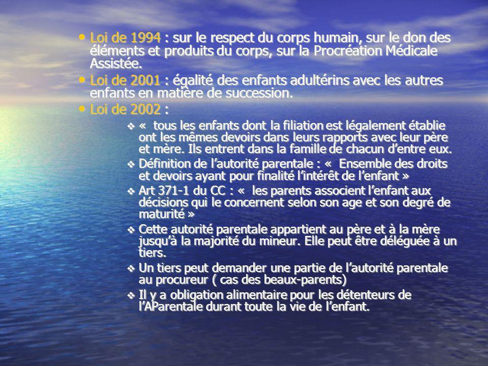 Loi de 1994 : sur le respect du corps humain, sur le don des éléments et produits du corps, sur la Procréation Médicale Assistée. Loi de 1994 : sur le