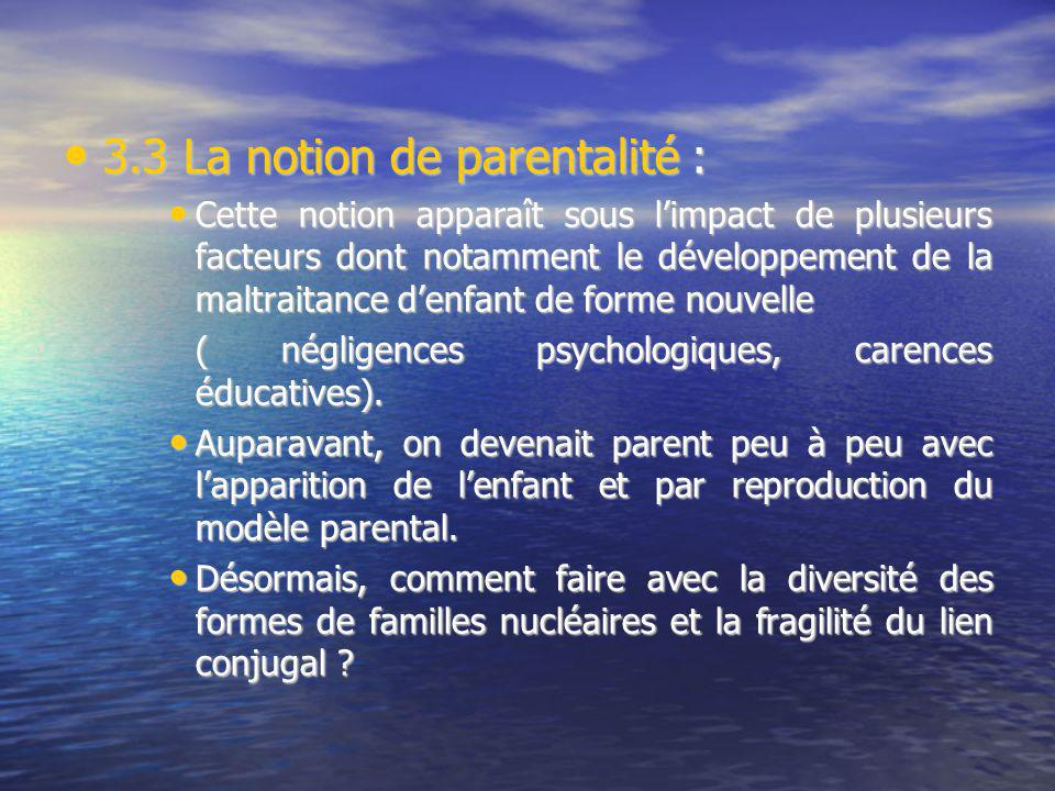 3.3 La notion de parentalité : 3.3 La notion de parentalité : Cette notion apparaît sous limpact de plusieurs facteurs dont notamment le développement