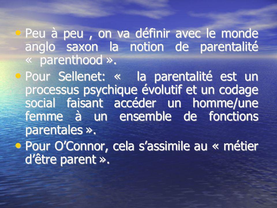 Peu à peu, on va définir avec le monde anglo saxon la notion de parentalité « parenthood ». Peu à peu, on va définir avec le monde anglo saxon la noti