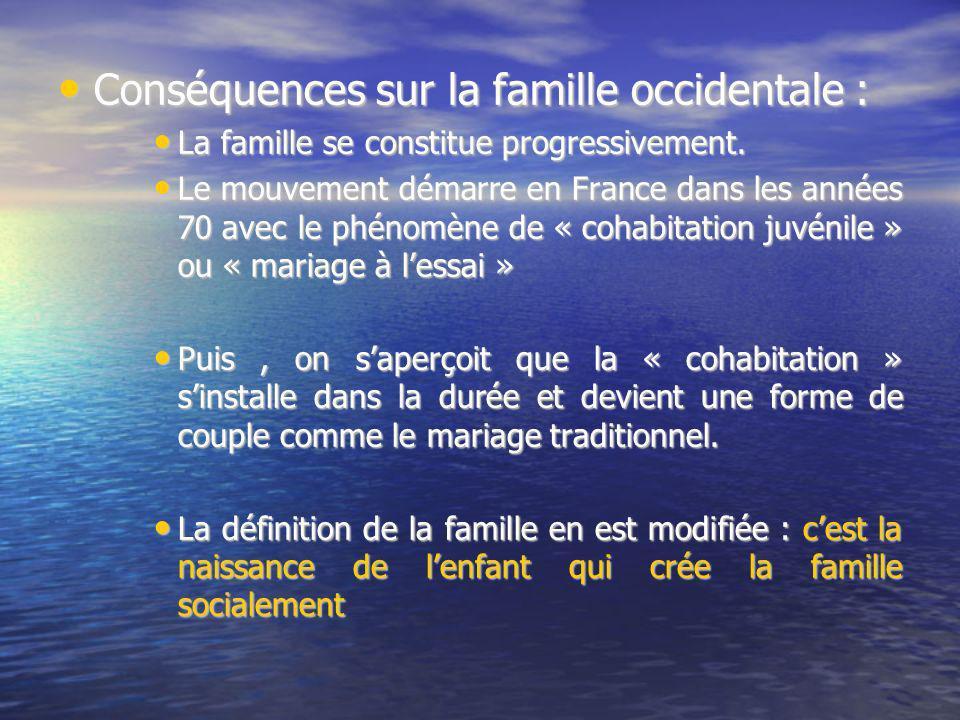Conséquences sur la famille occidentale : Conséquences sur la famille occidentale : La famille se constitue progressivement. La famille se constitue p