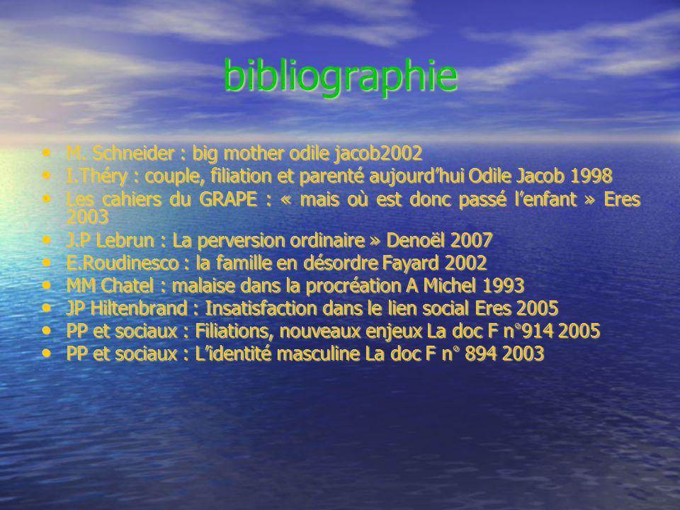 bibliographie M. Schneider : big mother odile jacob2002 M. Schneider : big mother odile jacob2002 I.Théry : couple, filiation et parenté aujourdhui Od