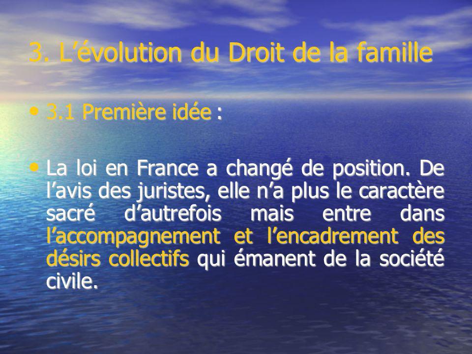 3. Lévolution du Droit de la famille 3.1 Première idée : 3.1 Première idée : La loi en France a changé de position. De lavis des juristes, elle na plu