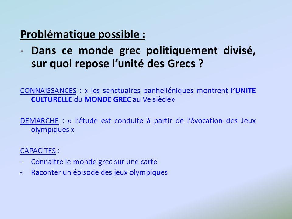 Problématique possible : -Dans ce monde grec politiquement divisé, sur quoi repose lunité des Grecs ? CONNAISSANCES : « les sanctuaires panhelléniques